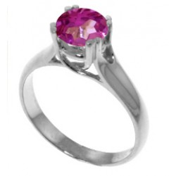 1.1 Carat Sterling Silver Solitaire Ring Natural Pink Topaz