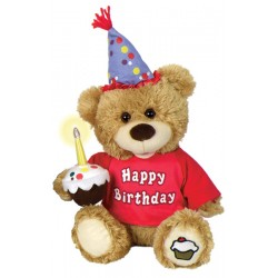 Happy Birthday Light Up Candle Plush Bear