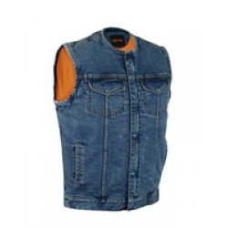 Concealed Snaps, Denim Material, Hidden Zipper, w/o Collar