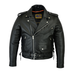 Men's Classic Side Lace Police Style M/C Jacket