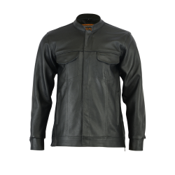 Men's Full Cut Leather Shirt with Zipper/Snap Front