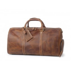 Vintage Crazy Horse Leather Duffle Bag, Travel Bag with Shoes Compartment, Weekend Bag