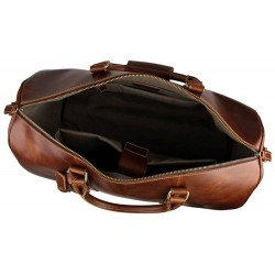 Genuine Natural Leather Travel Bag With Wheels, Leather Trolley Bag, Duffle Bag