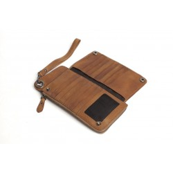 HANDMADE VEGETABLE TANNED FULL GRAIN LEATHER WALLET, LONG PURSE, BUTTON CLUTCH