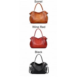 Genuine Full Grain Leather Handbags for Women Large Designer Ladies Shoulder Bag