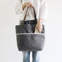 Waxed Canvas with Leather Tote Bag, Shoulder Bag, School Bag