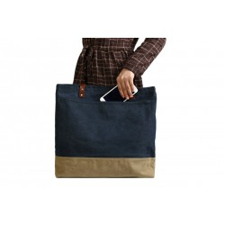 Handmade Canvas Tote Bags with Leather Trimming, Shopper Bags, Women Designer Handbags