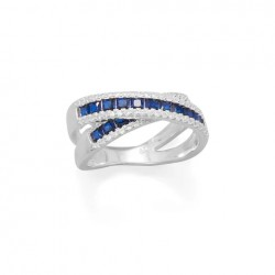 Blue CZ Overlapping Ring