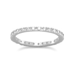 Rhodium Plated CZ Eternity Band
