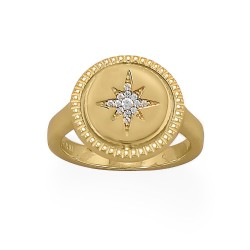 Reversible CZ Star and Moon Ring