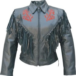 LADIES RED ROSE JACKET by Allstate leather