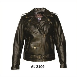 LADIES RETRO BROWN MOTORCYCLE JACKET in buffalo leather