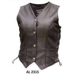 VETERANS SPECIAL! All State Leather Ladies braided vest AL2315