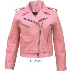LADIES PINK LEATHER MOTORCYCLE JACKET by ALLSTATE LEATHER