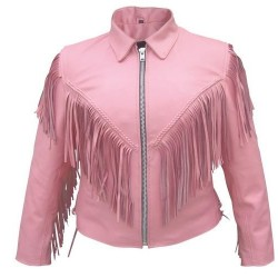 LADIES PINK FRINGE JACKET WITH BRAID by ALLSTATE LEATHER