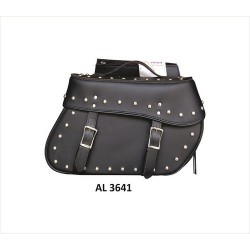 Large studded throw-over PVC Saddle Bag by allstate leather