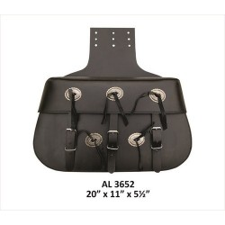 X-Large Plain throw-over Leather Saddle Bag by Allstate