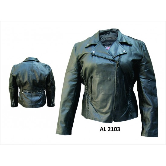 VETERANS SPECIALS! Allstate Leather LADIES MOTORCYCLE JACKET WITH BRAID AL2103