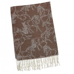 """Lila"" Brown Linear Horse Pashmina"
