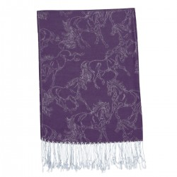 """Lila"" Purple Linear Horse Pashmina"