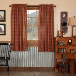 BURGUNDY CHECK SCALLOPED SHORT PANEL CURTAIN SET OF 2 63X36