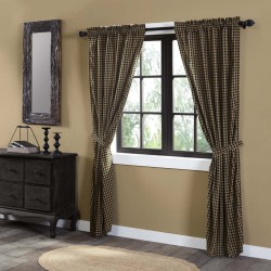 BLACK CHECK SCALLOPED PANEL CURTAIN SET OF 2 84X40