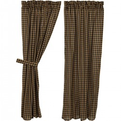 BLACK CHECK SCALLOPED SHORT PANEL CURTAIN SET OF 2 63X36