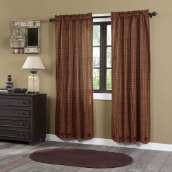 BURGUNDY STAR SCALLOPED PANEL CURTAIN SET OF 2 84X40