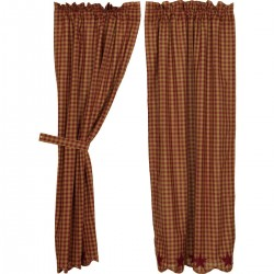 BURGUNDY STAR SCALLOPED SHORT PANEL CURTAIN SET OF 2 63X36