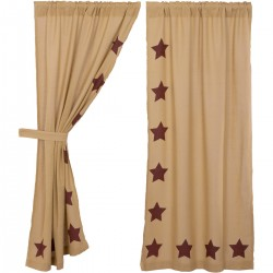BURLAP W/BURGUNDY STENCIL STARS SHORT PANEL CURTAIN SET OF 2 63X36
