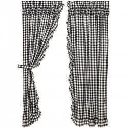 ANNIE BUFFALO BLACK CHECK RUFFLED PANEL CURTAIN SET OF 2 84X40