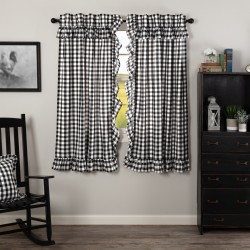 ANNIE BUFFALO BLACK CHECK RUFFLED SHORT PANEL CURTAIN SET OF 2 63X36