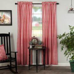ANNIE BUFFALO RED CHECK PANEL CURTAIN SET OF 2 84X40
