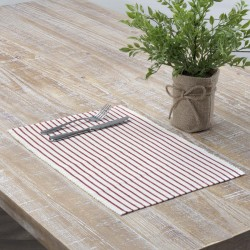 AUDREY RED RIBBED PLACEMAT SET OF 6 12X18