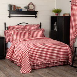 ANNIE BUFFALO RED CHECK RUFFLED QUILT COVERLET