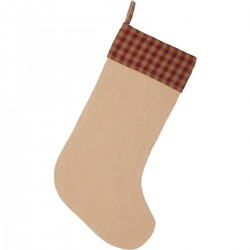 BURGUNDY CHECK JUTE STOCKING