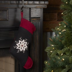 CHRISTMAS SNOWFLAKE STOCKING FELT EMBROIDERED 11X15