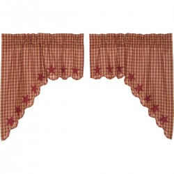 BURGUNDY STAR SCALLOPED SWAG CURTAIN SET OF 2 36X36X16