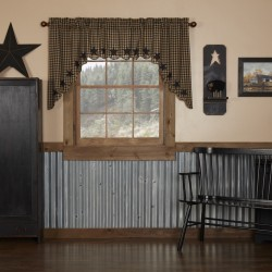 BLACK STAR SCALLOPED SWAG CURTAIN SET OF 2 36X36X16