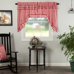 ANNIE BUFFALO RED CHECK RUFFLED SWAG CURTAIN SET OF 2 36X36X16