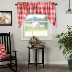 ANNIE BUFFALO RED CHECK SWAG CURTAIN SET OF 2 36X36X16