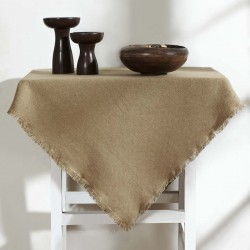 BURLAP NATURAL TABLE TOPPER FRINGED 40X40