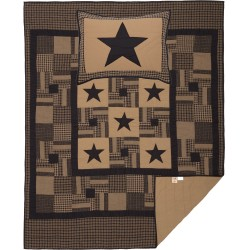 BLACK CHECK STAR QUILT SET